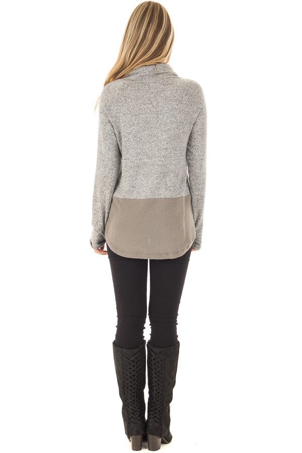 Heather Grey Cowl Neck Two Tone Dusty Olive Color Block Top back full body