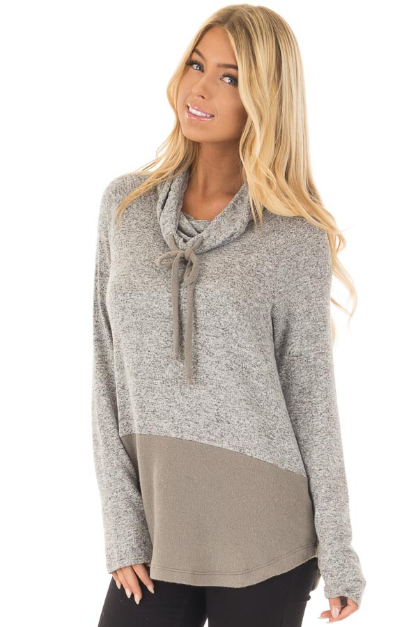 Heather Grey Cowl Neck Two Tone Dusty Olive Color Block Top front closeup
