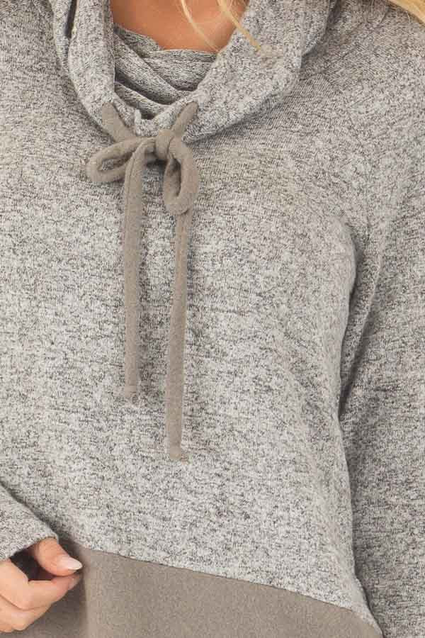 Heather Grey Cowl Neck Two Tone Dusty Olive Color Block Top front detail
