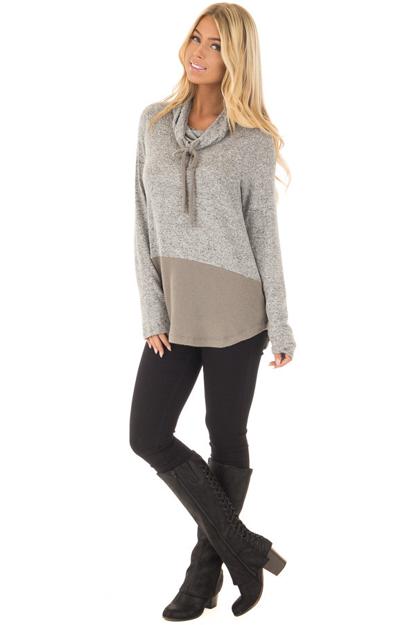 Heather Grey Cowl Neck Two Tone Dusty Olive Color Block Top front full body