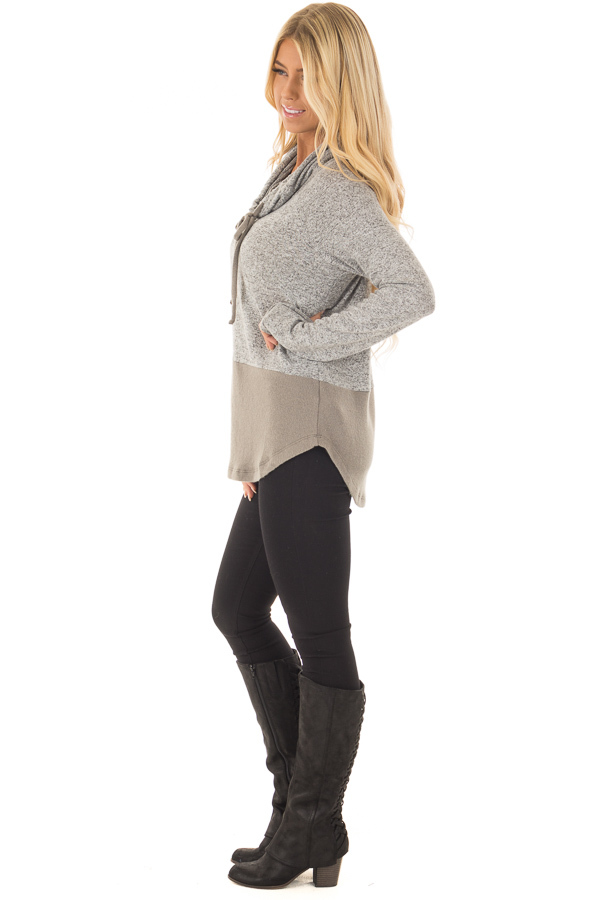 Heather Grey Cowl Neck Two Tone Dusty Olive Color Block Top side full body