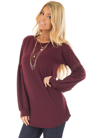 Wine Long Sleeve Top with Crochet Details front closeup