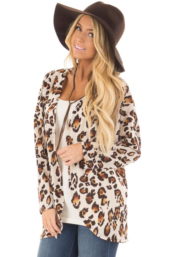 Mocha and Cream Leopard Print Long Sleeve Cardigan - Lime Lush ...