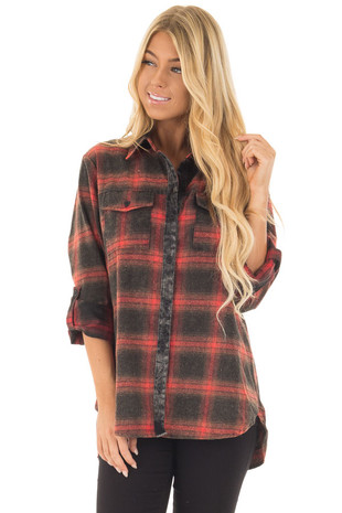 Tomato Plaid Button Up Top with Breast Pockets front closeup