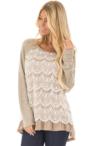 Mocha Long Sleeve Top with Lace Front Detail front closeup
