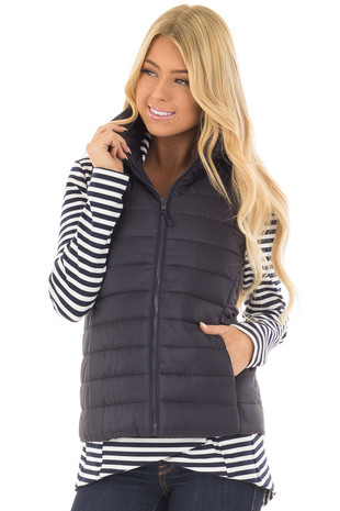 Navy Zip Up Puffer Vest with Hidden Pockets front closeup