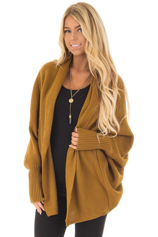 Mustard Long Sleeve Open Draped Cardigan front closeup