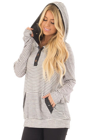 Ivory and Charcoal Striped and Polka Dot Long Sleeve Hoodie front closeup