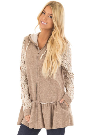 Mocha Two Tone Hoodie with Lace Sleeve Detail and Zipper front closeup