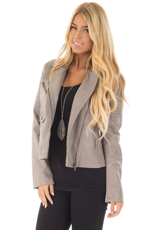 Stone Faux Leather Moto Asymmetrical Zipper Jacket front closeup