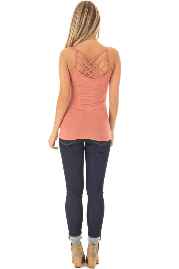 Coral Reversible Criss Cross Tank Top back full body