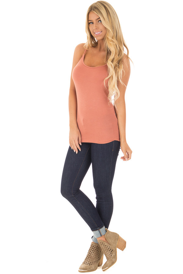 Coral Reversible Criss Cross Tank Top front full body