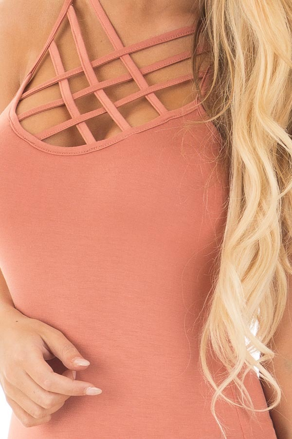 Coral Reversible Criss Cross Tank Top front detail
