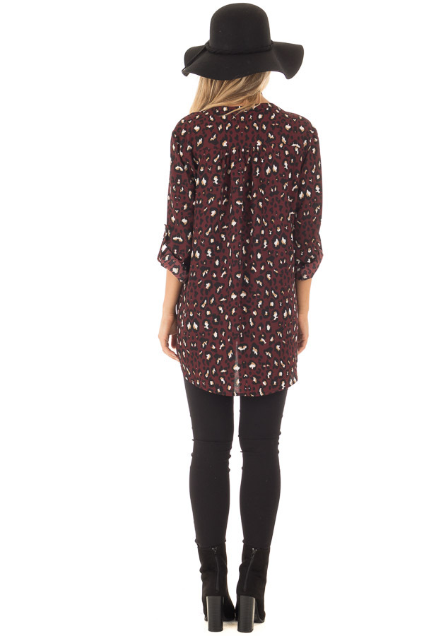 Burgundy Leopard Print Blouse with Roll Up Sleeves back full body