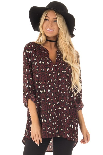 Burgundy Leopard Print Blouse with Roll Up Sleeves front closeup