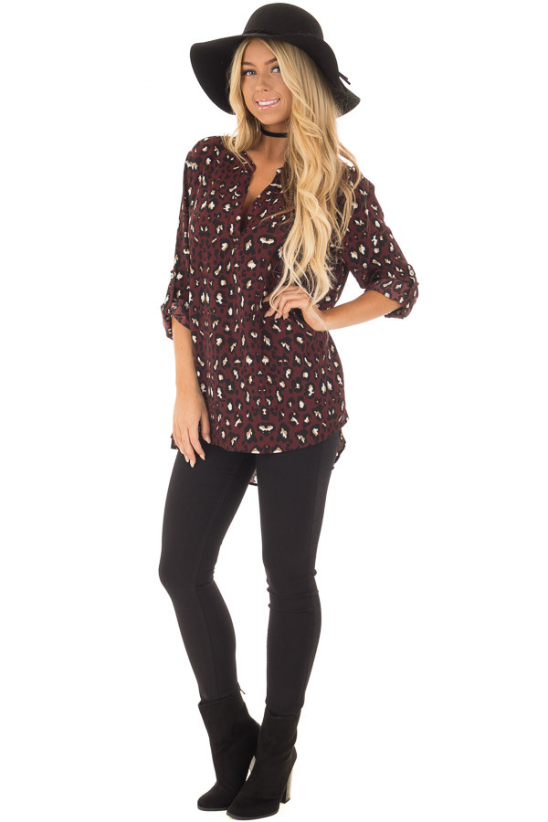 Burgundy Leopard Print Blouse with Roll Up Sleeves front full body