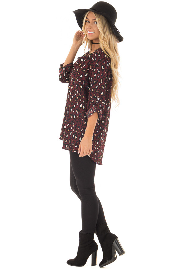 Burgundy Leopard Print Blouse with Roll Up Sleeves side full body