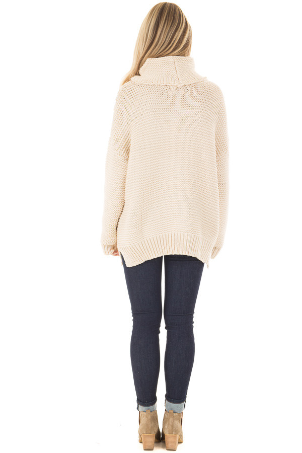 Cream Oversized Long Sleeve Cowl Neck Sweater back full body