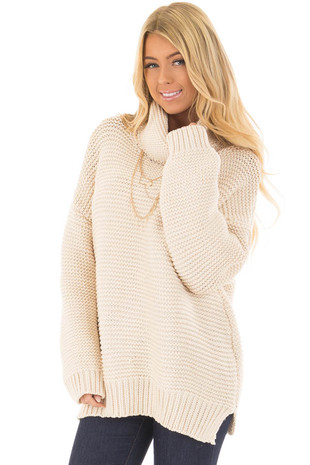 Cream Oversized Long Sleeve Cowl Neck Sweater front closeup