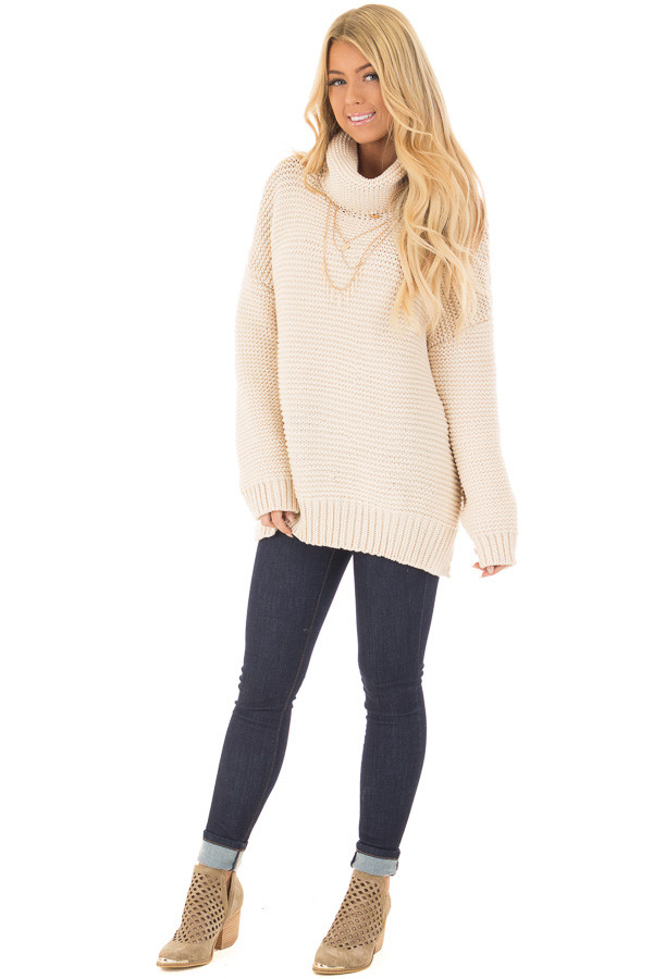 Cream Oversized Long Sleeve Cowl Neck Sweater - Lime Lush Boutique