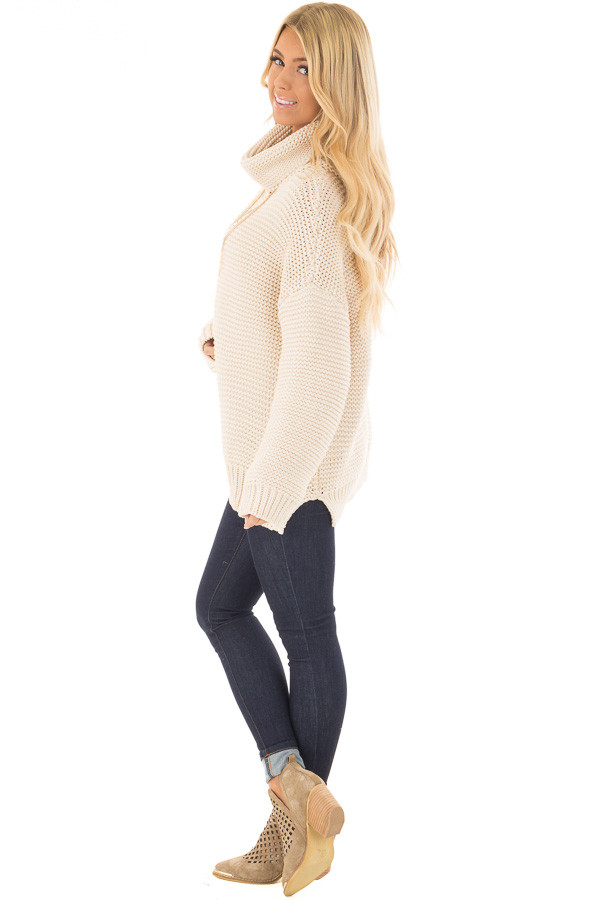 Cream Oversized Long Sleeve Cowl Neck Sweater side full body