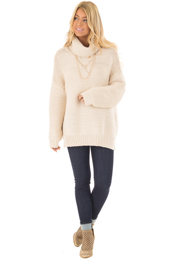 Cream Oversized Long Sleeve Cowl Neck Sweater front full body