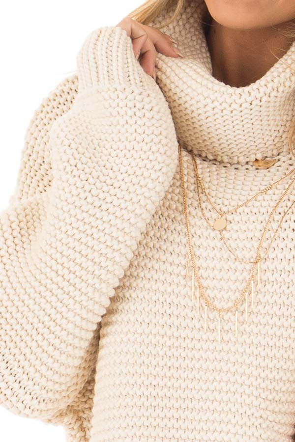 Cream Oversized Long Sleeve Cowl Neck Sweater front detail