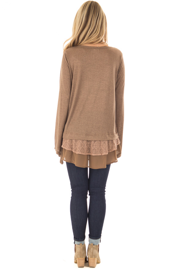 Dark Taupe Bell Sleeve Top with Lace and Chiffon Details back full body