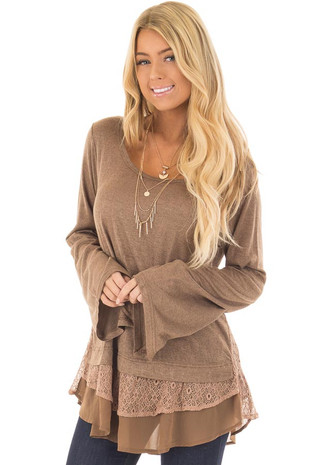 Dark Taupe Bell Sleeve Top with Lace and Chiffon Details front closeup