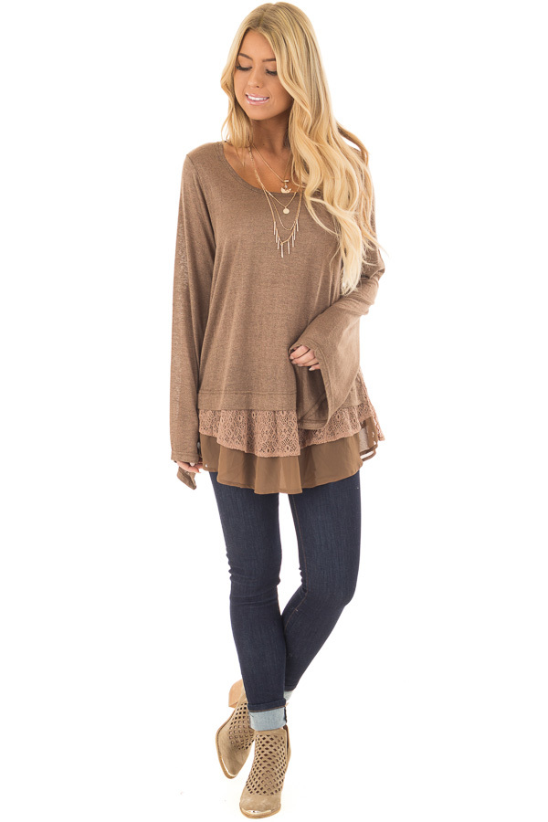 Dark Taupe Bell Sleeve Top with Lace and Chiffon Details front full body
