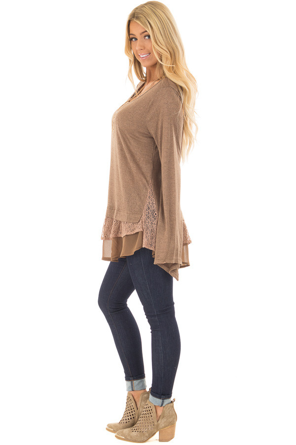 Dark Taupe Bell Sleeve Top with Lace and Chiffon Details side full body