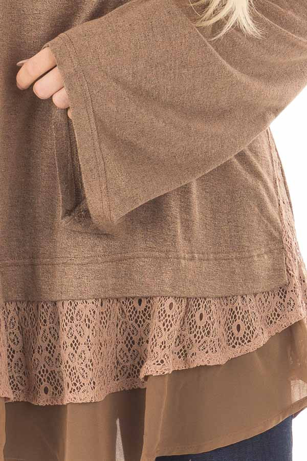 Dark Taupe Bell Sleeve Top with Lace and Chiffon Details front detail