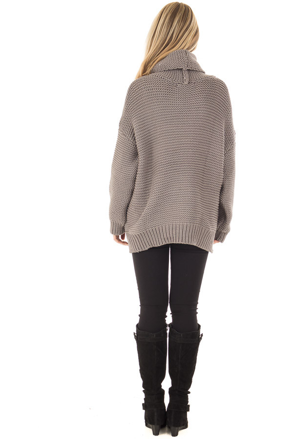 Charcoal Oversized Long Sleeve Cowl Neck Sweater back full body