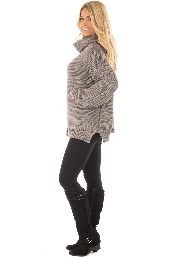 Charcoal Oversized Long Sleeve Cowl Neck Sweater side full body