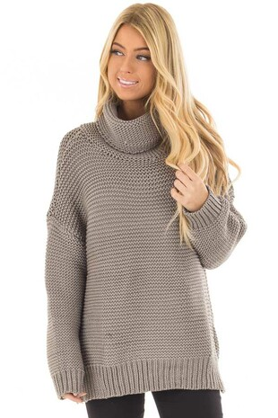 Charcoal Oversized Long Sleeve Cowl Neck Sweater front closeup