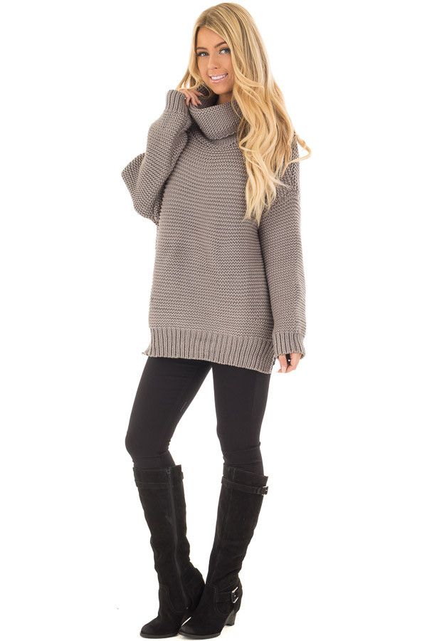 Charcoal Oversized Long Sleeve Cowl Neck Sweater front full body