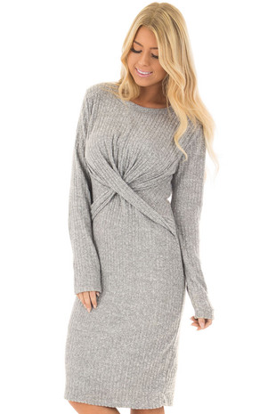 Heather Grey Midi Dress with Twist Front Detail front closeup