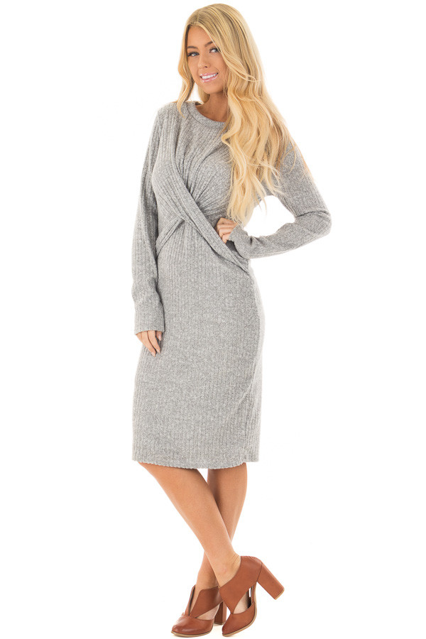 Heather Grey Midi Dress with Twist Front Detail front full body