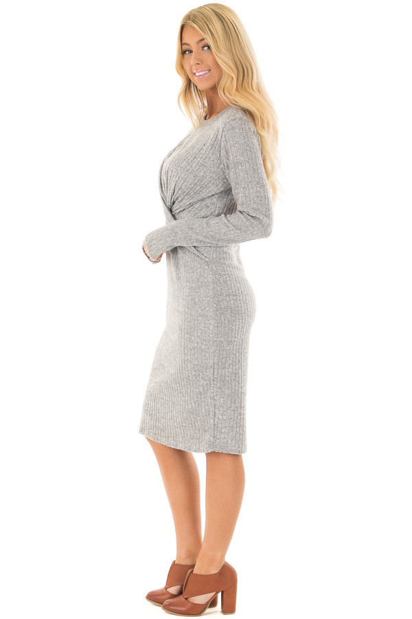 Heather Grey Midi Dress with Twist Front Detail side full body