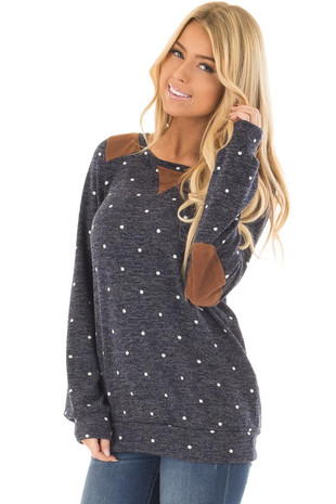 Navy Polka Dot Long Sleeve Sweater with Faux Suede Detail front closeup