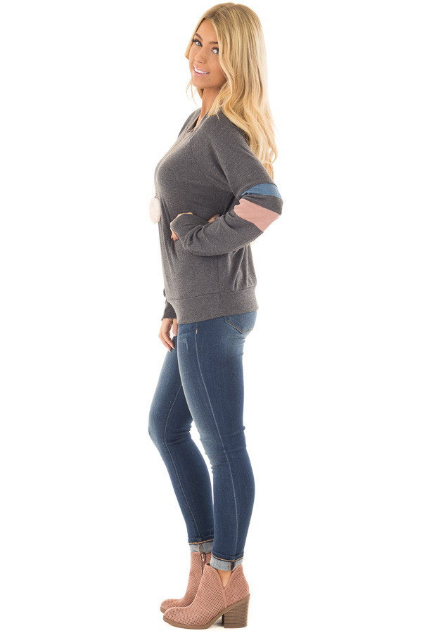 Charcoal Long Sleeve Top with Blue and Dusty Pink Stripes side full body