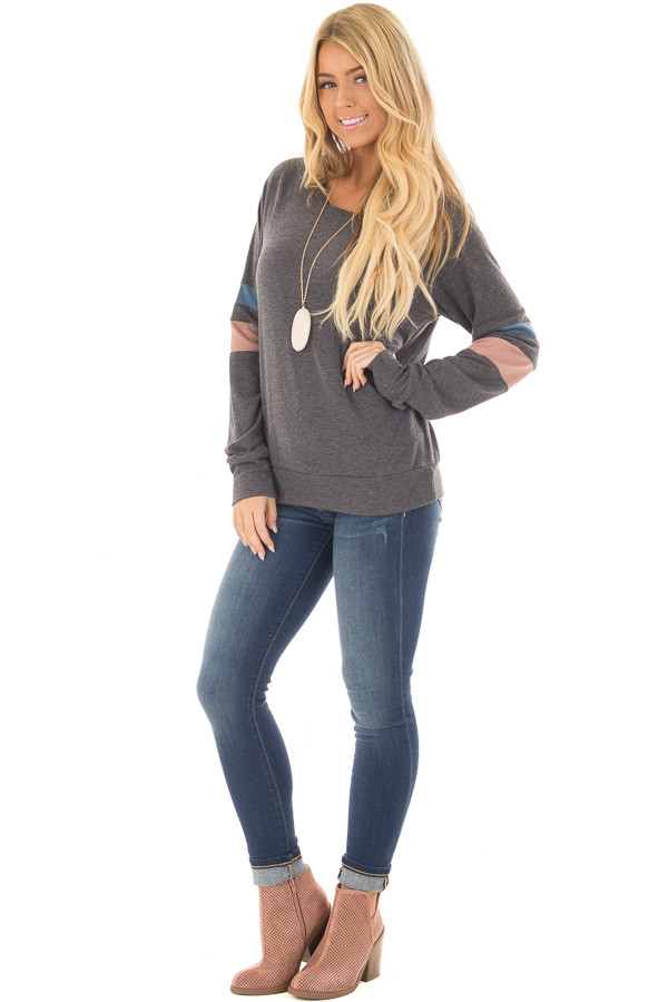 Charcoal Long Sleeve Top with Blue and Dusty Pink Stripes front full body