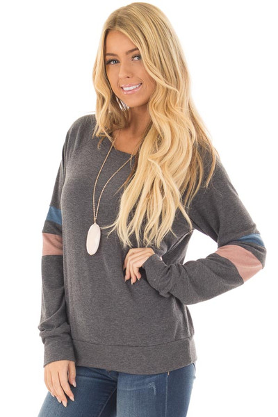 Charcoal Long Sleeve Top with Blue and Dusty Pink Stripes front closeup