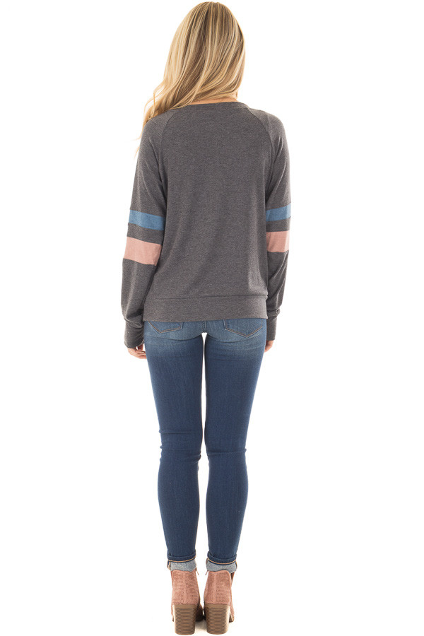 Charcoal Long Sleeve Top with Blue and Dusty Pink Stripes back full body
