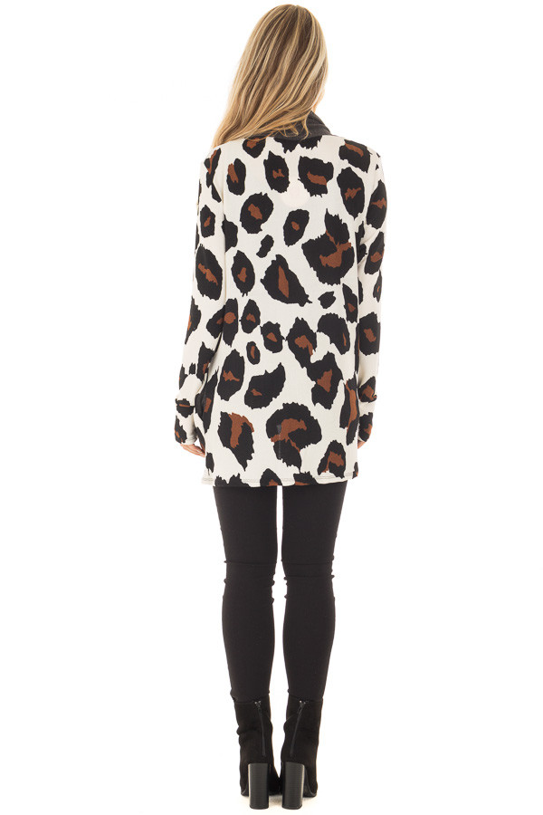 Cream Leopard Print Cardigan with Dark Charcoal Edges back full body
