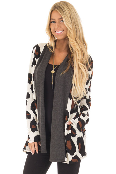 Cream Leopard Print Cardigan with Dark Charcoal Edges front closeup