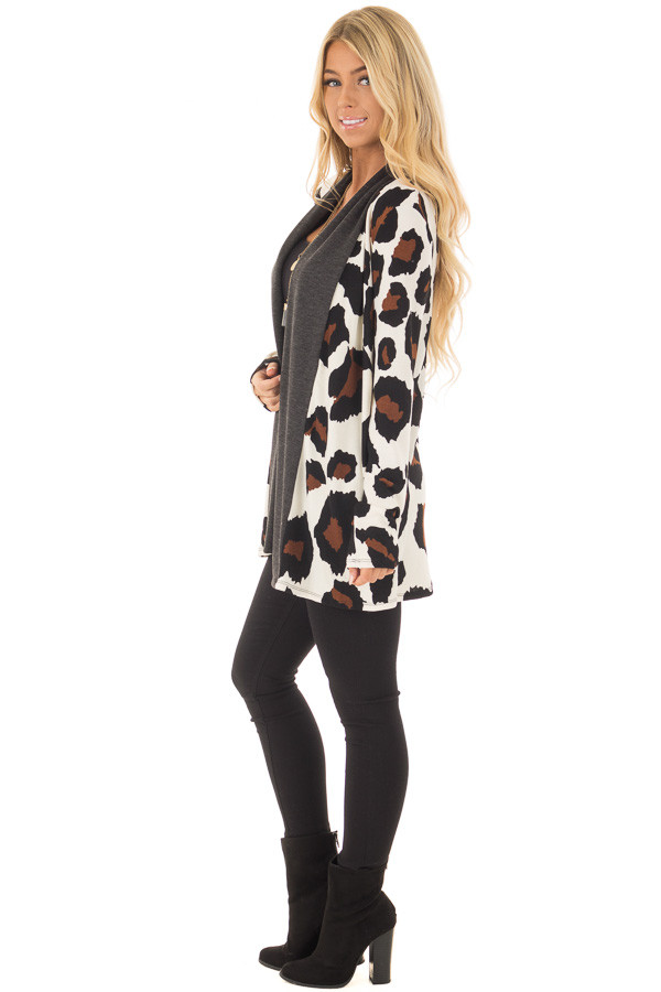 Cream Leopard Print Cardigan with Dark Charcoal Edges side full body