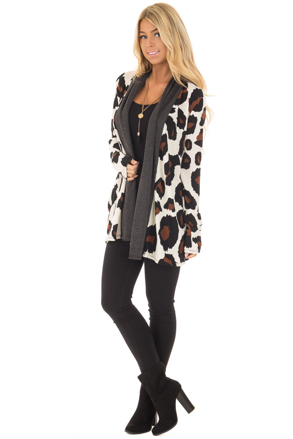 Cream Leopard Print Cardigan with Dark Charcoal Edges front full body