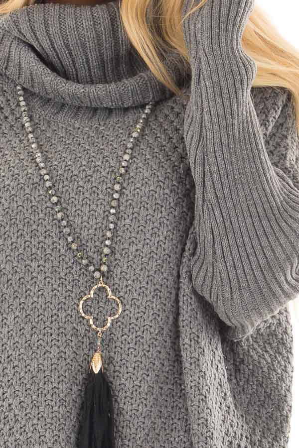 Charcoal Thick Sweater Cowl Neck Top with Long Sleeve Detail front detail