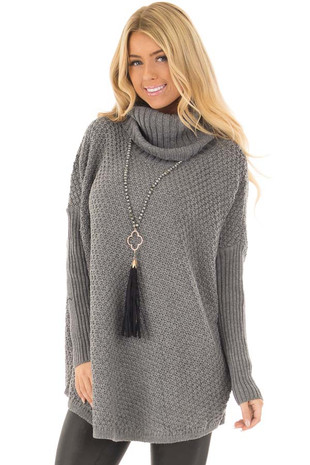 Charcoal Thick Sweater Cowl Neck Top with Long Sleeve Detail front closeup